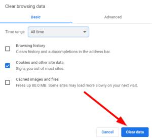 Clear data button